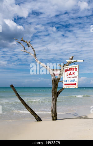 Driftwood sign for beach bar. - Stock Photo