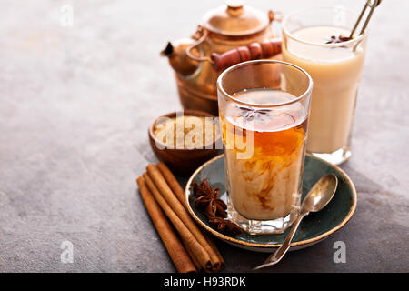 Hot masala tea with spices - Stock Photo