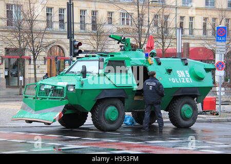 Berlin, Germany. 17th Nov, 2016. Armoured police vehicles standing in front of the Adlon hotel in Berlin, Germany, - Stock Photo