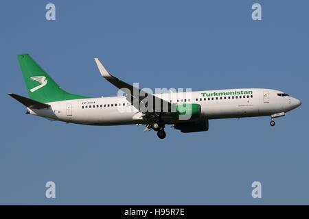 Frankfurt, Germany - February 27, 2016: Turkmenistan Airlines, Boeing 737 is landing at Frankfurt Airport - Stock Photo