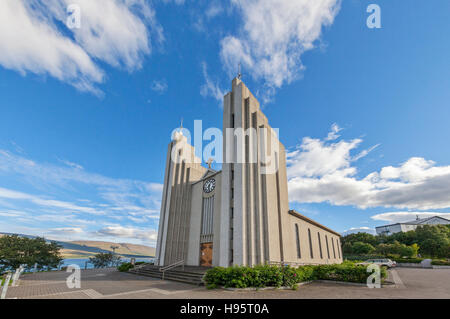 The Akureyrarkirkja Lutheran Chuch in Akureyri, Iceland. - Stock Photo
