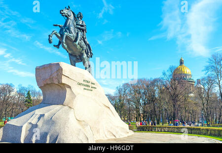 The Bronze Horseman is the famous equestrian statue of Peter the Great, located in Senate Square - Stock Photo