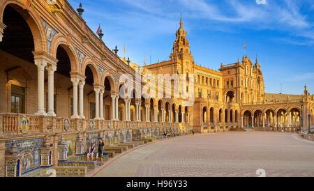 Plaza de Espana - Seville, Andalusia, Spain - Stock Photo