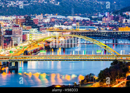 Fort Pitt Bridge spans Monongahela river in Pittsburgh, Pennsylvania - Stock Photo