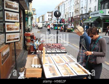 Portobello Road, street market, flea market, London, United Kingdom, Europe - Stock Photo