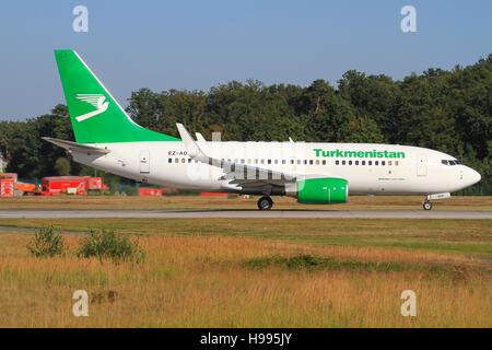 Frankfurt/Germany july 4, 2012: Turkmenistan Boeing 737 at Frankfurt Airport. - Stock Photo
