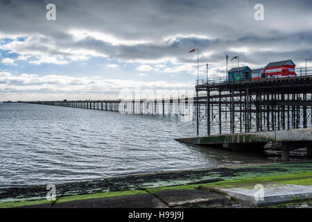 Southend Pier, The longest pleasure pier in the World reaches into the River Thames Estuary, Southend-on-sea, Essex,England - Stock Photo