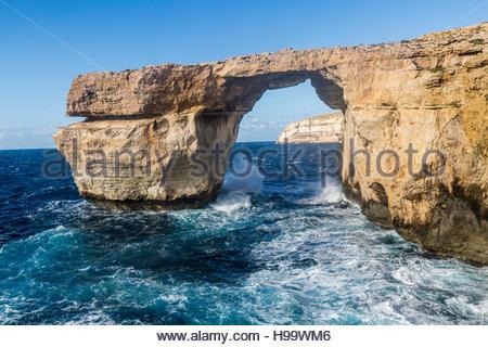 The Azure Window at Dwejra Bay on Gozo, Malta - Stock Photo