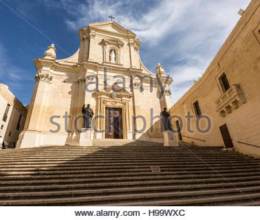 Cathedral within Citadel at Victoria on Gozo, Malta - Stock Photo