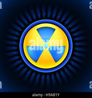 sign of radiation blue - Stock Photo