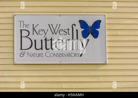 Sign of The Key West Butterfly & Nature Conservatory. - Stock Photo