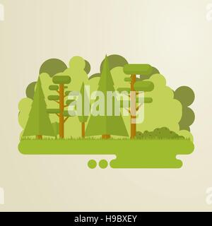 Set of flat trees in a forest. Woods, grass, bushes, pine-tree. - Stock Photo