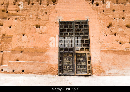 Large old wooden door in Morocco - Stock Photo