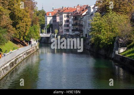 LJUBLJANA, SLOVENIA - SEPTEMBER 24, 2016: Ljubljana -Slovenia - city centre, view on the river. Ljubljana is the - Stock Photo
