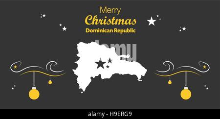 Merry Christmas illustration theme with map of Dominican Republic - Stock Photo
