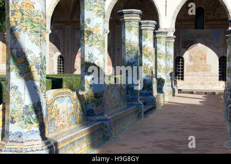 Santa Chiara Church, convent and cloistry, Naples, Campania, Italy, Europe - Stock Photo