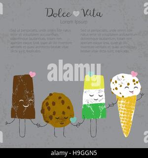 Vector hand drawn ice cream set cute kawaii frendship story for postcard, poster, label and others - Stock Photo