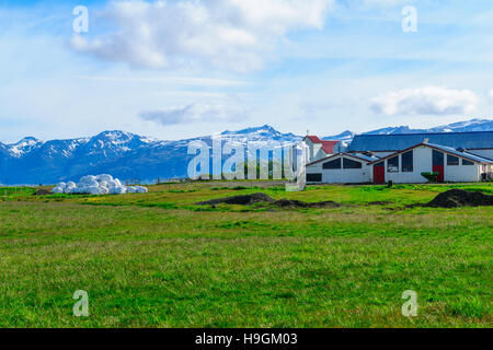 Countryside view and snowy peaks, near Hofn, southeastern Iceland - Stock Photo