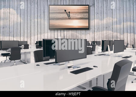 Composite image of desks in a open space - Stock Photo