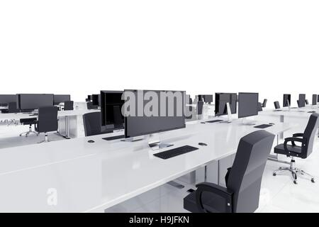 Desks in a open space - Stock Photo