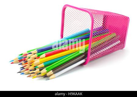 Color pencils in metallic modern basket - Stock Photo