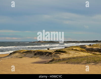 Uruguay, Rocha Department, Punta del Diablo, View of the la Viuda Beach. - Stock Photo