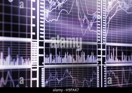 Stock exchange graphs. Selective focus toned image - Stock Photo