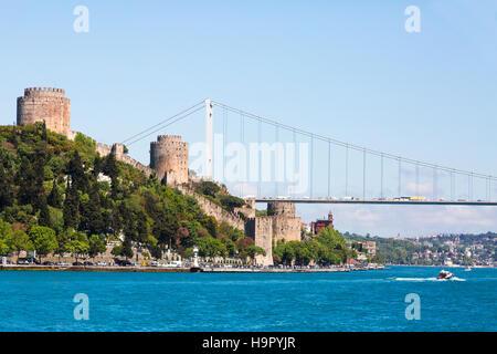 Rumelihisari Fortress along the Bosphorus in Istanbul, Turkey - Stock Photo