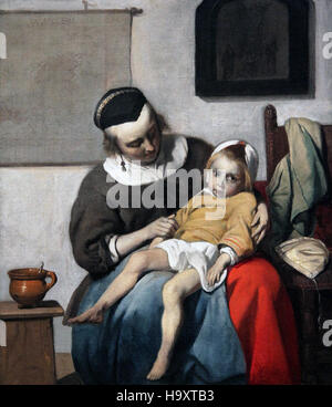 The sick child 1663 by Gabriel Metsu 1629-1667 the plague in amsterdam at that time - Stock Photo