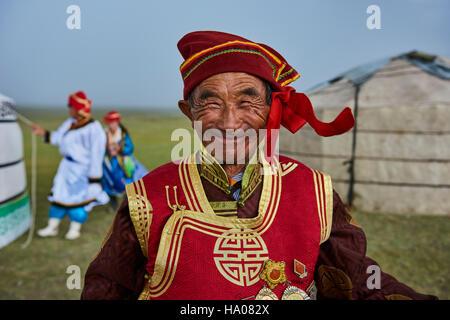 Mongolia, Uvs province, western Mongolia, nomad wedding in the steppe, portrait of an old man from Dorvod ethnic - Stock Photo