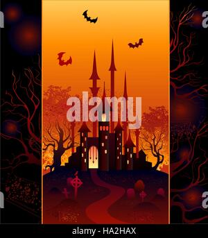 The original design for the mysterious halloween castle, forest and cemetery. - Stock Photo