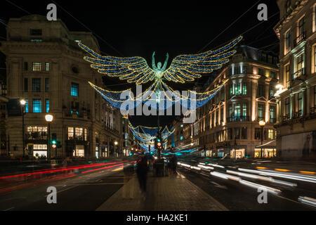 LONDON - NOVEMBER 25, 2016: Christmas lights on Regent Street, London, - Stock Photo