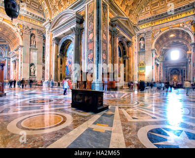 Interior of St Peter's Basilica in Rome, Italy - Stock Photo
