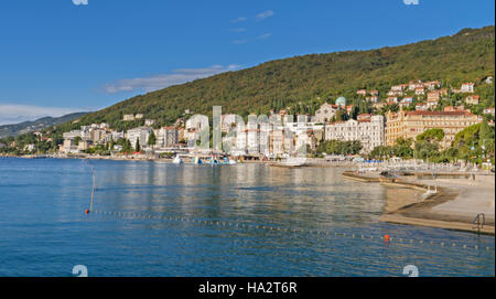 Opatija, Croatia - September 6 2016: Riviera Opatija in the morning, view from the promenade on the most famous - Stock Photo