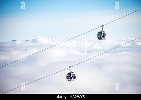 chairlifts, Kitzsteinhorn, salzburg, Austria - Stock Photo