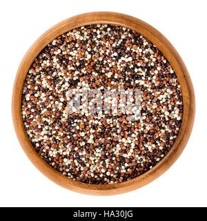 Mixed quinoa seeds in wooden bowl. Yellow, red and black edible fruits of grain crop Chenopodium quinoa in the Amaranth - Stock Photo