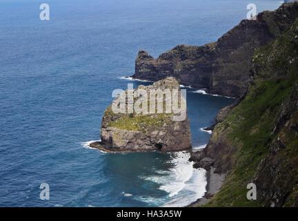 Portugal, Madeira, Santana, Elevated view towards the Rocha do Navio Reserve and Ponta de Catarina Pires. - Stock Photo
