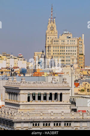 Spain, Madrid, Cityscape viewed from the Cybele Palace. - Stock Photo