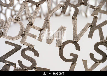 Detail of Jaume Plensa sculpture 'Shadows II' showing stainless steel letters, Montreal Museum of Fine Arts, Canada. - Stock Photo