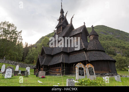 Borgund Stave Church,  Borgund, Lærdal, Sogn og Fjordane, Norway. - Stock Photo