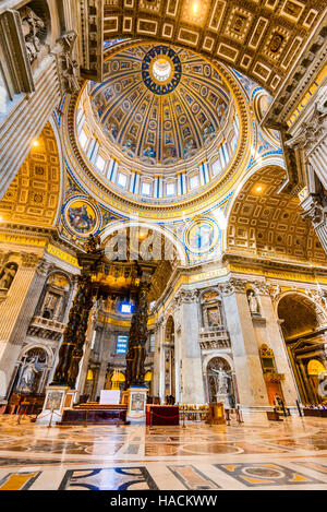 Rome, Italy. Interior image of dome Saint Peters Basilica, Renaissance architecture of Roma. Vatican. - Stock Photo