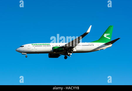 Turkmenistan Boeing 737-800 approaching Birmingham Airport, UK (EZ-A016) - Stock Photo