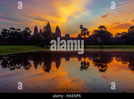 Sunrise over Angkor Wat, Siem Reap, Kingdom of Cambodia. - Stock Photo