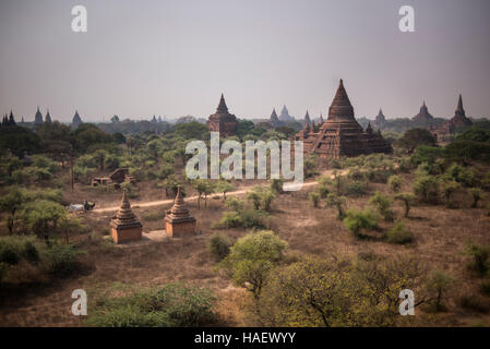 Temples at the Bagan Historical site, Myanmar. - Stock Photo