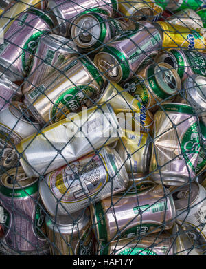 Koh Kud, Thailand - February 02, 2016: Used beverage cans gathered in a pile - Stock Photo