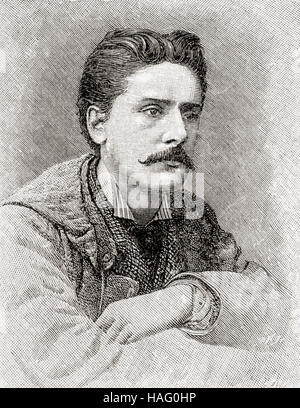 William Terriss, 1847 – 1897, born William Charles James Lewin.  English actor. Seen here aged 30.  From The Strand - Stock Photo