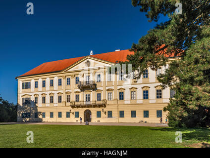 Valtice Palace, Baroque style, garden side, in Valtice,  Bohemia, Czech Republic - Stock Photo
