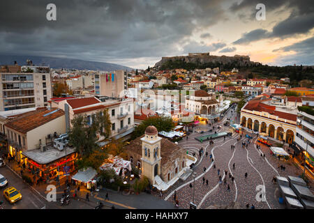 View of Acropolis from a roof-top coffee shop in Monastiraki square, Athens. - Stock Photo