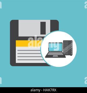 backup floppy laptop data server vector illustration eps 10 - Stock Photo