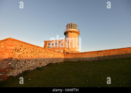 Belle Tout lighthouse, near to Beachy Head, on the chalk cliffs of the South Downs National Park. - Stock Photo